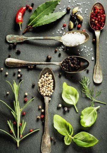 Набор свежих и сушеных специй для кулинарии