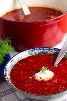 Борщ с томатами, сладким перцем и специями